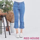 Red House 蕾赫斯-花朵牛仔七分褲(藍色)