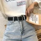 皮帶 凹造型pu方扣腰帶男女通用寬皮帶迷你學生正韓時尚迷你褲帶百搭黑