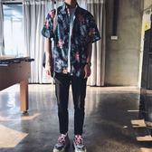 618好康又一發韓版短袖襯衫復古夏威夷花襯衫外套男