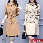 氣質腰帶雙排扣長版風衣 XL-5XL O-ker歐珂兒 177037