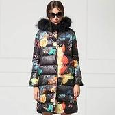羽絨外套 中長款-冬季貉子毛領修身顯瘦女外套72i36[巴黎精品]