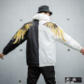 『潮段班』【GN001007】潮牌 VOVAVI  刺繡羽毛翅膀 黑 / 白 / 黑白 連帽外套
