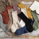 襪子女中筒襪卷邊堆堆襪日系素色月子純棉黑色長襪秋冬【小獅子】