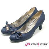 高跟鞋 新娘鞋 晚宴鞋 VelleMoven 全真皮 綁蝴蝶 葉片飾品 都會OL MIT製 舒適高跟鞋_海軍藍