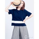 CANTWO跳色條紋拼接上衣(共二色)~春夏新品登場