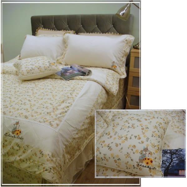 四件式【薄被套+薄床包】5*6.2尺/標準雙人/精梳棉/御元居家『戀家玫瑰』鄉村米(MIT)