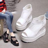 坡跟涼鞋 女正韓性感網紗透氣魚嘴鞋12cm超高跟羅馬涼鞋