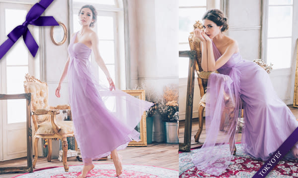 東京衣服 氣質甜美 單肩網紗水鑽別針高腰長禮服 伴娘款 淺紫