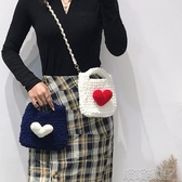 毛絨包包-抖音同款泫雅愛心手工編織包包針織包diy材料包自制鉤針毛絨女包 喵喵物語