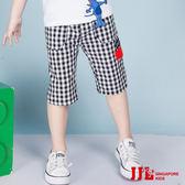 JJLKIDS 男童 經典格紋棉質休閒六分褲(黑白格)
