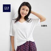 Gap女裝 亞麻混紡直筒V領短袖T恤 296137-白顏色