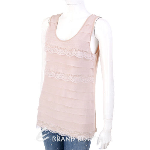 PAOLA FRANI 粉色蕾絲拼接無袖上衣 1220038-39