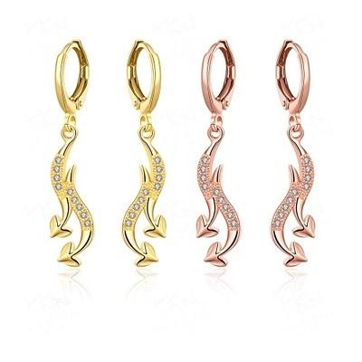 耳環 玫瑰金純銀 鑲鑽-閃耀獨特別緻設計生日情人節禮物女飾品2色73bu80【時尚巴黎】