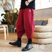 中國風男裝刺繡假兩件燈籠褲 寬鬆哈倫褲闊腿燈籠褲休閒褲子 BF19425【旅行者】