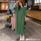 綠色字母印花長款過膝T恤裙女春夏季韓版寬松大碼短袖洋裝 檸檬衣舍