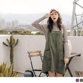 《DA7218-》燈芯絨配色條紋造型口袋吊帶裙 OB嚴選