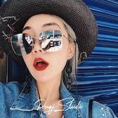 ACSENSE 網紅同款眼鏡圓臉方框水銀色夏日顯臉小鏡面墨鏡太陽鏡 【好康八九折】