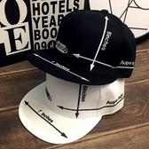 嘻哈平沿帽子男女時尚字母箭頭刺繡棒球帽街舞帽