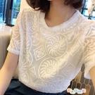 【免運快出】 短袖歐貨夏季韓版百搭圓領短袖雪紡衫女重工刺繡蕾絲