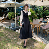 洋装 大碼法式氣質襯衫顯瘦假兩件連身裙H325 韓依紡