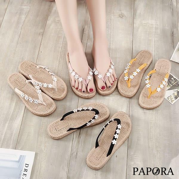 PAPORA小花夾腳平底拖鞋K96677黑/米/黃/粉(偏小)