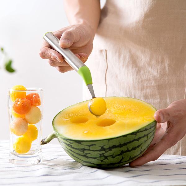 廚房用品不鏽鋼挖球器吃西瓜水果球勺水果拼盤工具西瓜勺子─預購CH5458