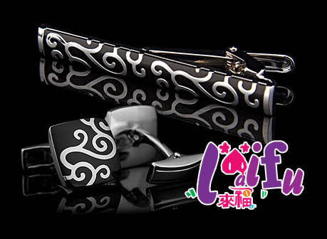 ★草魚妹★K186新色法式斐爾圖騰領夾袖扣套組,一組售價329元