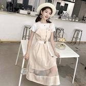 洋裝 背帶裙子仙女夏裝2021新款套裝初中高中學生韓版潮網紗吊帶洋裝
