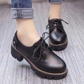 英倫復古小皮鞋中跟單鞋女百搭厚底學生繫帶女鞋子潮 免運