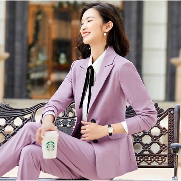 傳統版型粉紫梅葒穿搭上班西裝外套[20X311-PF]美之札