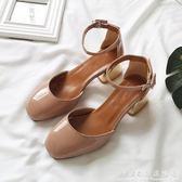 方頭鞋春粗跟單鞋女淺口一字扣帶中跟高跟鞋仙女裸粉色中空涼鞋 科炫數位