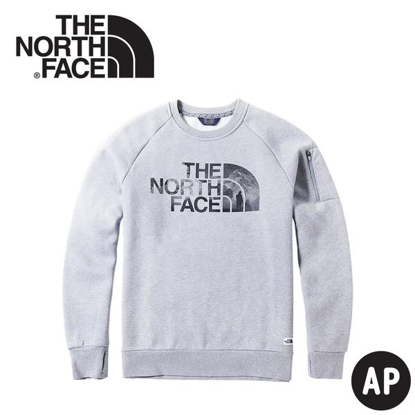 【The North Face 男 LOGO長袖內刷毛T恤《中灰》】3VUB/大學T/保暖長袖