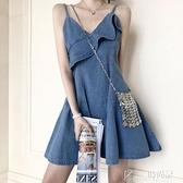牛仔洋裝 2021夏季山本初戀小個子桔梗牛仔裙甜美很仙的法國小眾吊帶洋裝