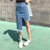 牛仔半身裙韓風高腰不規則流蘇女A字一步裙子潮【店慶優惠限時八折】