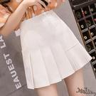 不規則A字百褶裙 白色半身裙女春夏2020新款高腰包臀短裙半裙 BT22215『bad boy時尚』