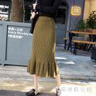 中大尺碼針織半身裙 女秋冬氣質包臀一步裙中長款新款高腰魚尾荷葉邊裙LB2553【3C環球數位館】