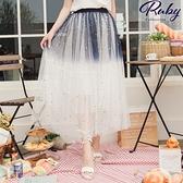 裙子 星星月亮撞色鬆緊紗裙長裙-Ruby s 露比午茶