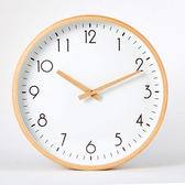 無印櫸木邊框10寸北歐掛鐘臥室客廳日式家用靜音木鍊錶  wy 年貨慶典 限時鉅惠