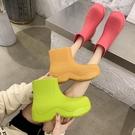 mona雨鞋女外穿大頭短筒水鞋套腳水靴防水防滑牛油果綠色時尚雨靴 設計師生活百貨