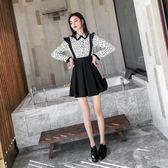 現貨 網紅風2019女裝連衣裙韓版時尚波點短款長袖兩件套公主裙 套裝 兩件式  長袖裙裝