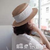沙灘帽 氣質名媛風平頂小禮帽女夏天麥稈遮陽草帽子女韓版沙灘帽 「潔思米」