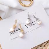 耳環 S925銀針 微鑲鋯石不對稱巴羅克珍珠 耳針【Ann梨花安】