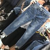 春夏季大碼女裝200斤網紅九分牛仔褲女打底褲彈力薄款破洞小腳褲 米娜小鋪