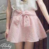 褲裙 韓國直送‧蝴蝶結素色後鬆緊褲裙-Ruby s 露比午茶