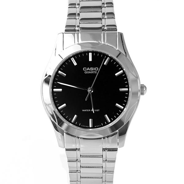 CASIO卡西歐 簡單刻度黑面腕錶 商務簡約 不鏽鋼材質錶帶【NEC110】