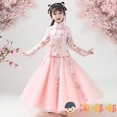 女童漢服秋冬唐裝中國風兒童長袖旗袍古裝連身裙【淘嘟嘟】
