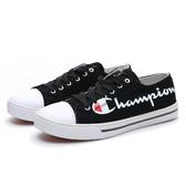 CHAMPION 休閒 黑帆布鞋 藍英文大LOGO 女 (布魯克林) 832220211