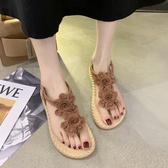 仙女風羅馬涼鞋女2020夏季新款韓版學生平底休閑夾趾海邊涼鞋子女享購