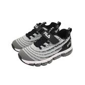 《FILA》兒童 MD氣墊編織慢跑鞋 黑灰色 3-J813T-414