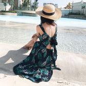 度假沙灘裙仙2018夏長裙顯瘦露背雪紡連身裙